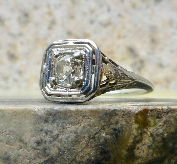 Art Deco Diamond Ring, Diamond Engagement Ring , … - image 1