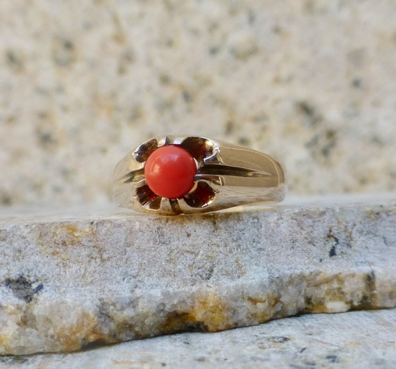 Antique Pink Coral Ring, Edwardian Coral Ring, Ant
