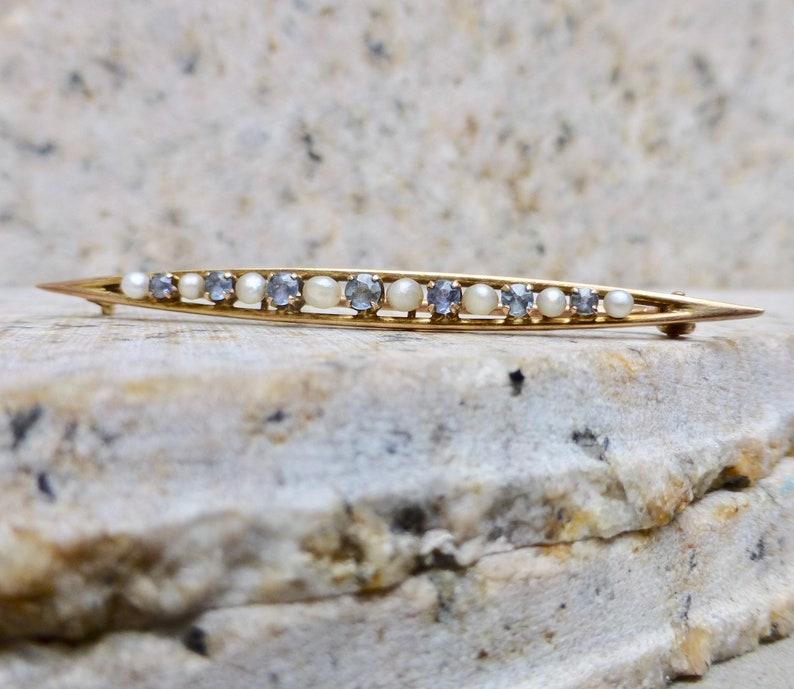 Art Deco Topaz Brooch 10k Art Deco Pin Topaz and Pearl Brooch Art Deco Gold Topaz Pin Dainty Bar Brooch Antique Topaz Brooch