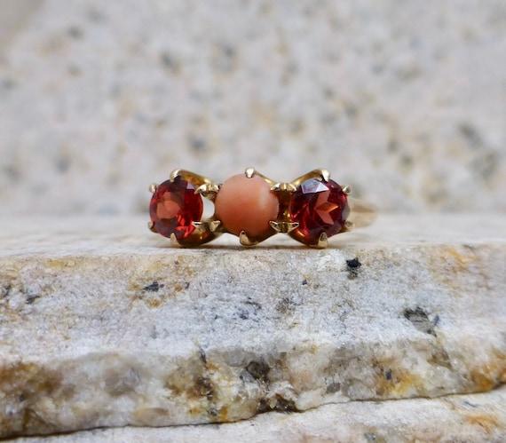 Art Deco Garnet Ring, Antique Coral and Garnet Rin