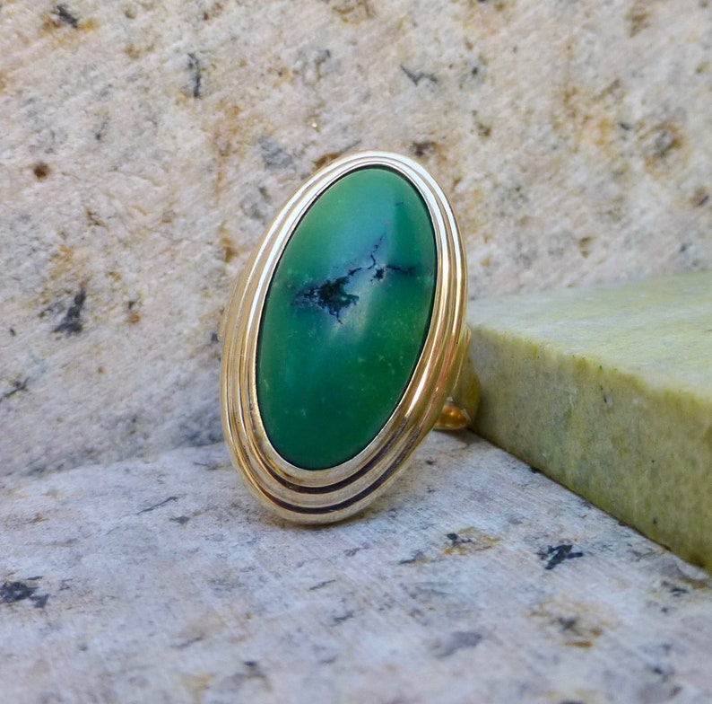 Antique Turquoise and Gold Ring Vintage Turquoise Ring Vintage Green Turquoise Ring Late Art Deco Turquoise Ring Large Turquoise Ring