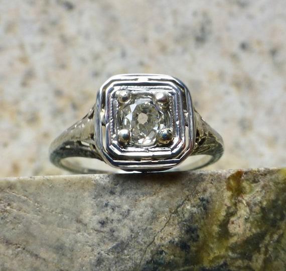 Art Deco Diamond Ring, Diamond Engagement Ring , … - image 2