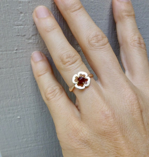 Art Deco Garnet Ring, Antique Bohemian Garnet Rin… - image 8
