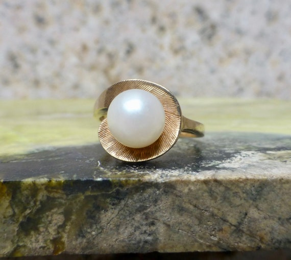 Antique Pearl Ring, Mid-Century Modern Pearl Ring,