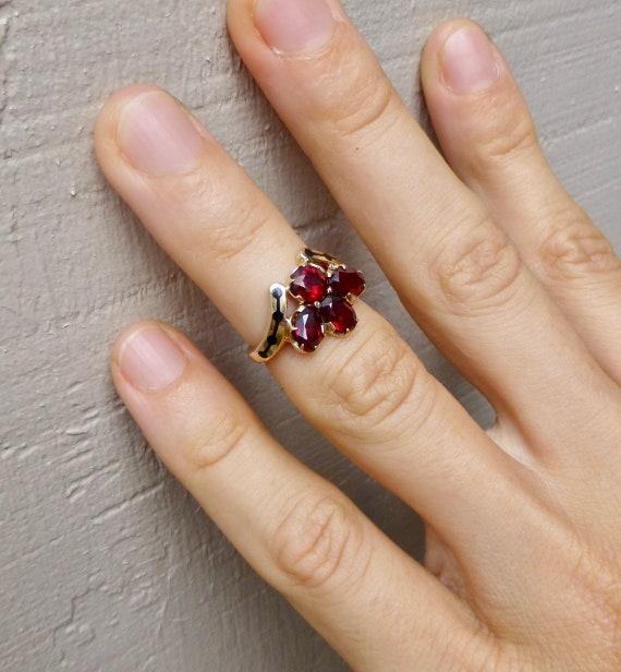 Mid Century Garnet Ring, Vintage Garnet Ring, Gar… - image 7
