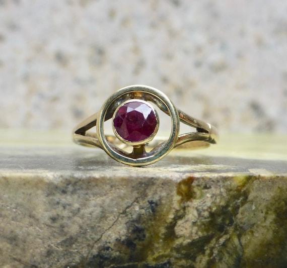 Edwardian Garnet Ring, Antique Bohemian Garnet Rin