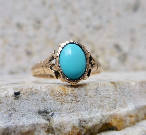 Victorian Turquoise Ring, Antique Turquoise Ring,