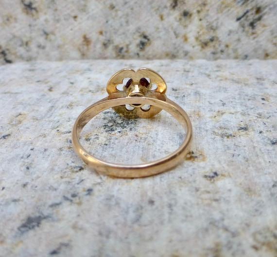 Art Deco Garnet Ring, Antique Bohemian Garnet Rin… - image 6