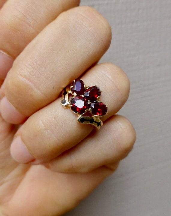 Mid Century Garnet Ring, Vintage Garnet Ring, Gar… - image 8
