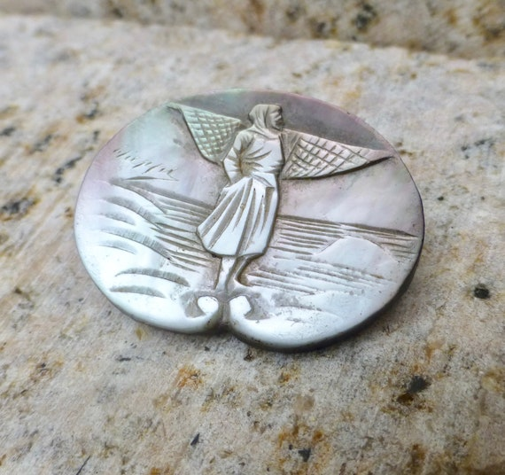 Victorian Mother Of Pearl Dress Pin, Victorian She