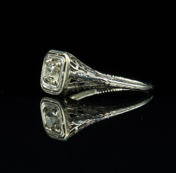 Art Deco Diamond Ring, Diamond Engagement Ring , … - image 5