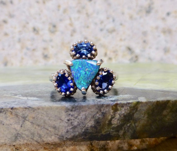 Vintage Opal And Topaz Ring, Custom Made Opal Ring