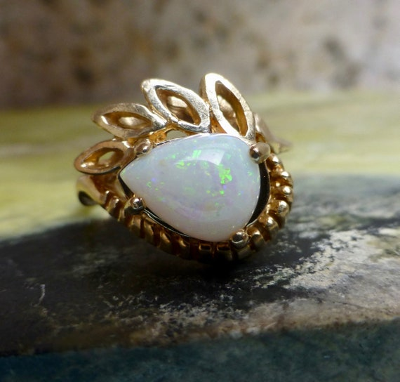 Vintage Opal Ring, Opal Cocktail Ring, Large Opal