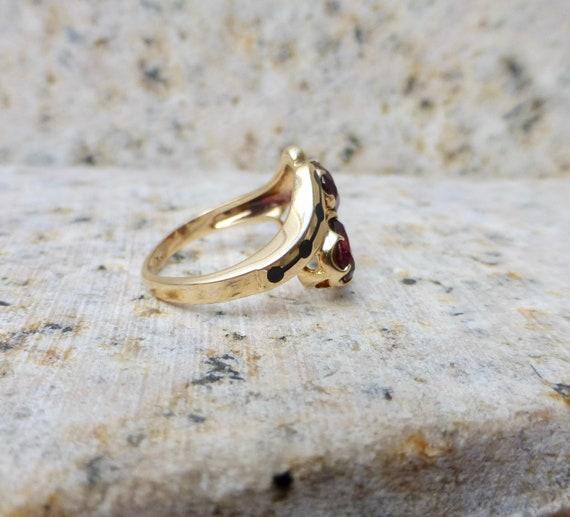 Mid Century Garnet Ring, Vintage Garnet Ring, Gar… - image 5