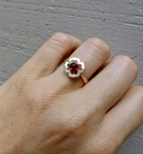 Art Deco Garnet Ring, Antique Bohemian Garnet Rin… - image 10