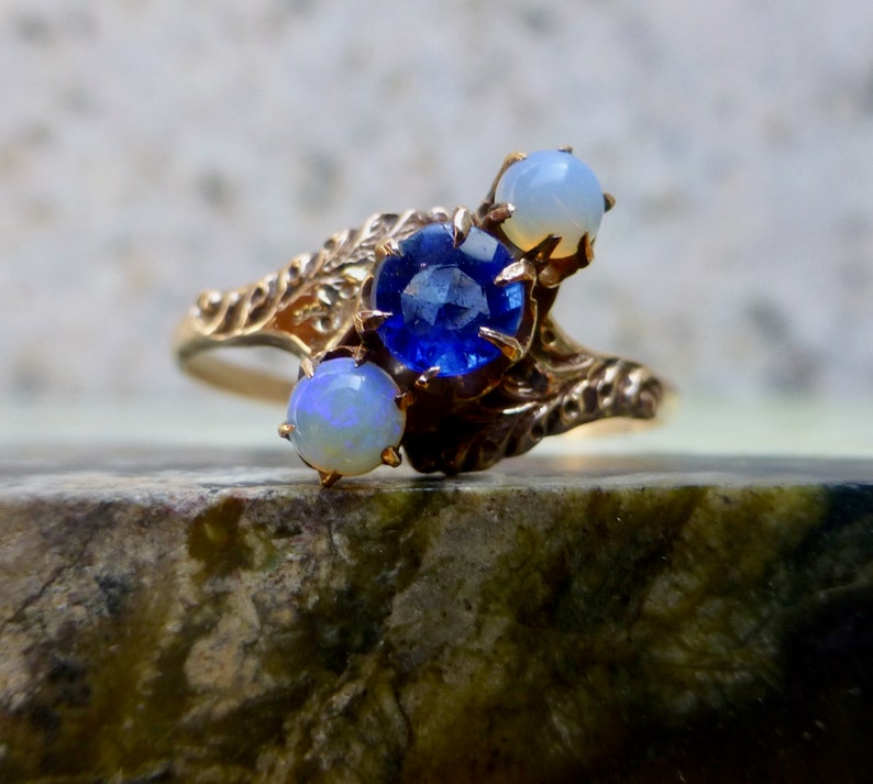 Victorian Glass and Opal Cocktail Ring, Antique Opal Ring, Antique Bypass  Ring, Victorian Opal Ring, Vintage Opal Ring, Victorian Paste Ring