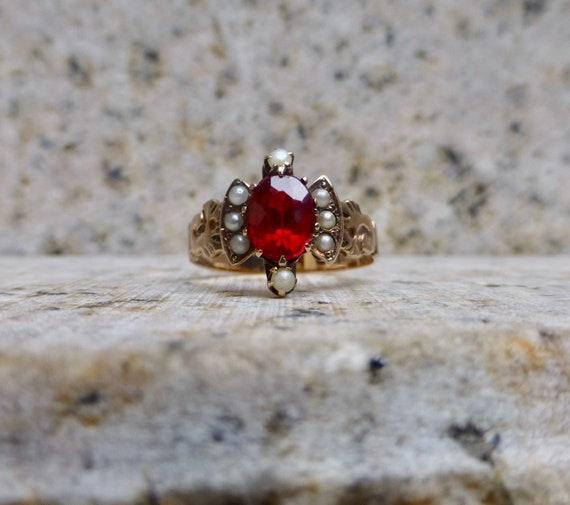 Victorian Garnet Ring, Garnet and Pearl Ring, Rose