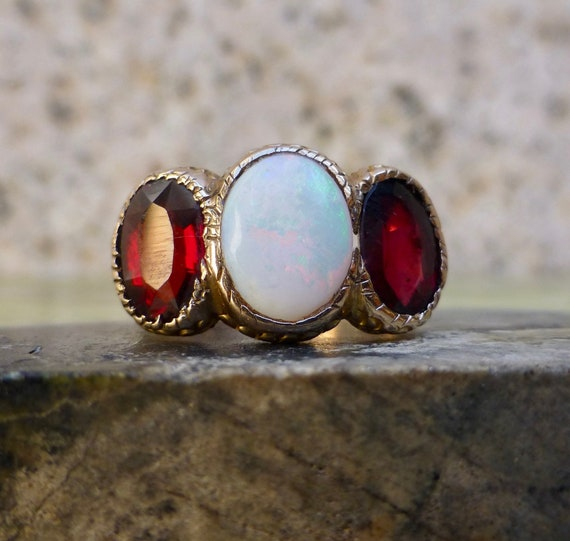 Edwardian Opal Ring, Vintage Opal Ring, Opal and G