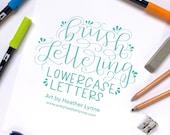 Hand Lettering Worksheets. Calligraphy Practice Sheets. Brush Lettering Workbook. Learn Modern Calligraphy. Calligraphy Lowercase Alphabet