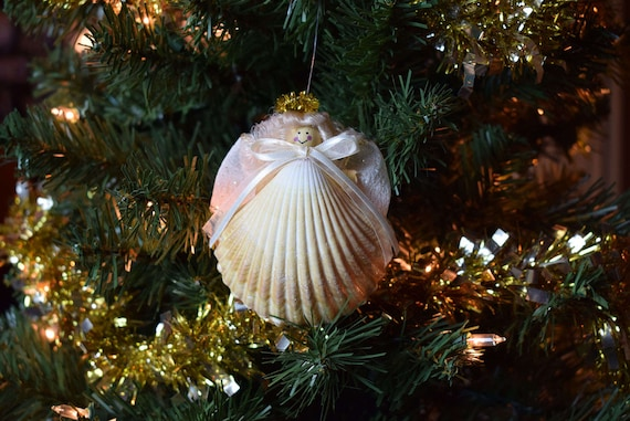 Angel Ornaments For Christmas Tree.Christmas Tree Decor Guardian Angel Christmas Tree Ornament Guardian Angel Decor Friendship Gift Christmas Angel Seashell Ornament