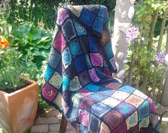 Granny Square Crochet Blanket Boheme