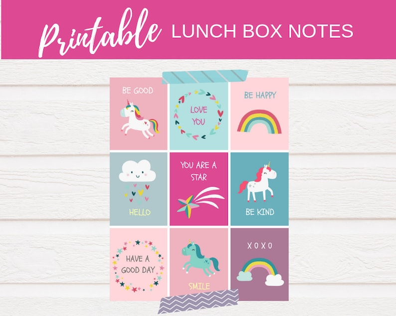 picture about Printable Lunchbox Notes named Unicorn lunchbox notes, Preschool lunch box notes, Printable lunch notes, lunchbox notes for little ones, unicorn printable