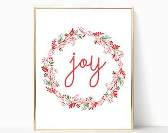 joy printable, joy print, joy sign, Christmas wall decor, joy Christmas sign, wall art, joy Christmas decor, 5x7, 8x10, 11x14, 16x20