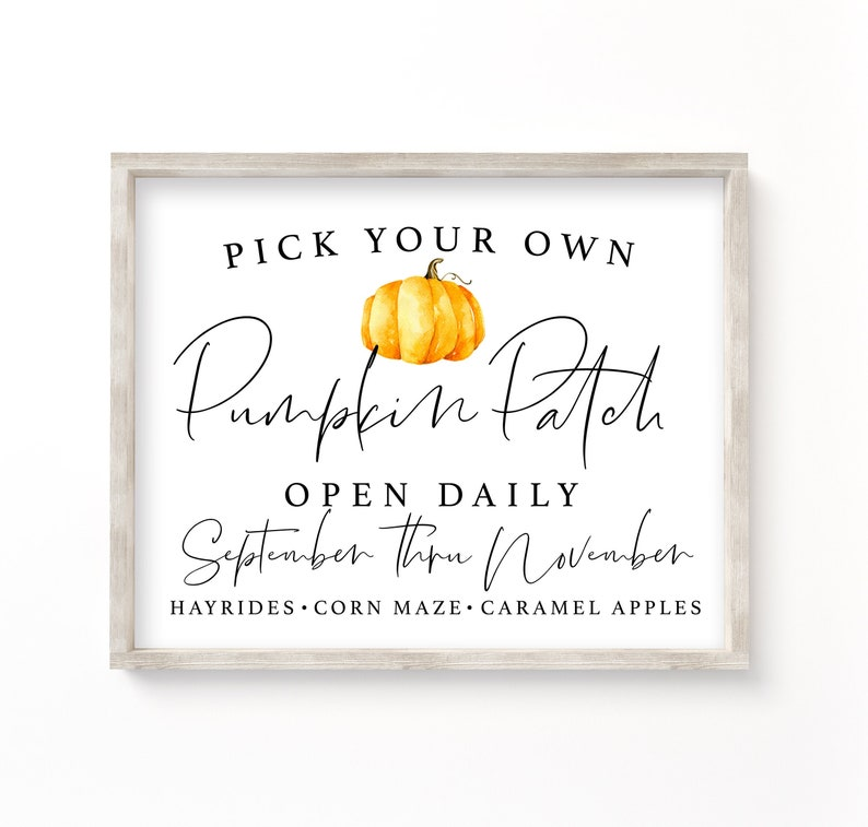 image about Printable Fall Pictures identify Pumpkin patch printable Tumble printable, pumpkin patch signal, drop signal, slide wall artwork, autumn printable, printable artwork, autumn indicator