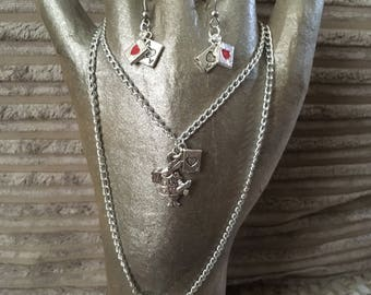 Alice in wonderland inspired earrings and necklace set