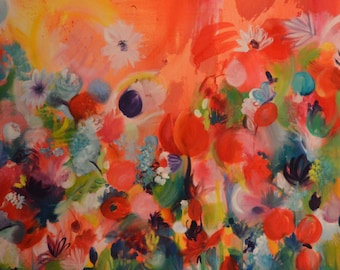 Fairy Garden - Oil & acrylic on canvas - painting contemporary art - 60 x 60 cm