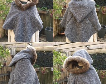 Viking hood Skjolderhamn Hood trum Fur made to order 100% wool and linen lined. Viking Period, Medieval hand sewn period stitches