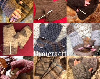 Nalbinding Mittens 100% Wool Shetland wool,Viking Nalbinded fingerless Mittens, Reenactment, Made to your size