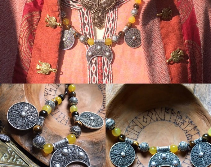 Viking Necklace pendant , Hangeroc necklace with Semi Precious beads creating a Norse stunning pendant ᚠᚱᛖᛇᚨ'ᛋ ᛏᛖᚨᚱᛋ
