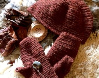 Nalbinding  Hat & Fingerless Mittens made to order in Shetland Wool Viking Anglo-Saxon Reenactment  Naalbinding