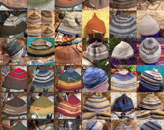 Nalbinded Hat Nalbinded hat Rare Breed wool Made to Your Size. 9th ~ 10th Reenactment Naalbinded in Viking stitches