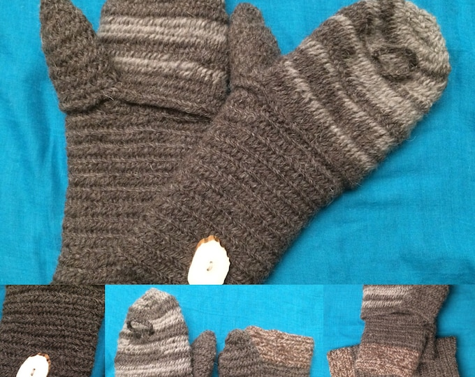 Nalbinding Mittens can change from full Mitten ~ finger-less 100% wool quality Reenactment or Bush craft made to your size