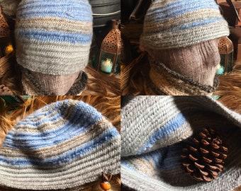 Nalbinding Hat, ready time ship Shetland Wool. Viking hat Finnish Stitch. Shetland wool