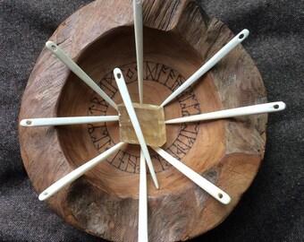 Nalbinding Needle bone needle hand carved quality use in tradition of Nålbinding needle