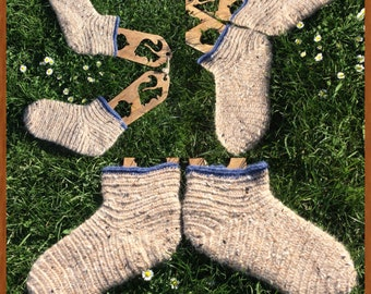 Nalbinding Socks Uk 7~ 8 Viking Made to your Size . Rare breed wool Handmade socks, bushcraft socks, Reenactment socks