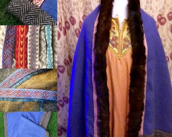 Viking Cloak made to order, double wool, Woad panel  tablet weave and fur trim. All Hand sewn quality cloak Reenactment SCA  Game of thrones