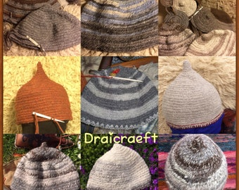 Viking wool handmade Nålebinding hats in quality rare breed sheep wools