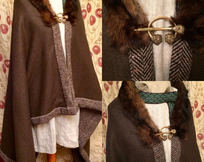Viking Cloak Made to Order double quality wool and fur trim, all Hand-sewn quality wool cloak, Shaman cloak