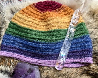 Rainbow Hat Nalbinding Hat, Shetland wool , 100%  Wool. quality soft Shetland Nalbinded quality