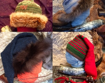 Tomtie Pixie Norse Shaman hat Nalbinded with fur trim made to order .