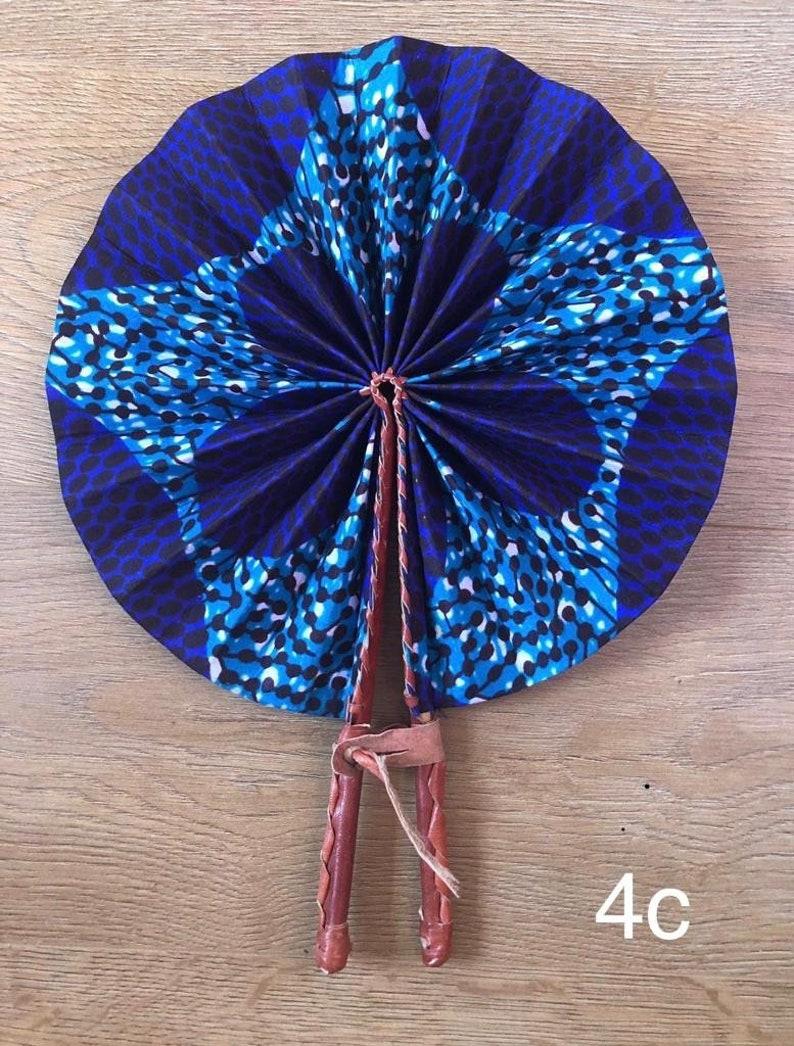 Foldable Ankara African Print FanPrint Handheld FanLeather HandleWaxFansFabric Leather Fan