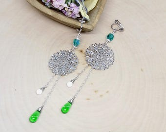 Green Clip on earrings, non-pierced, dangle, teardrop and lace charm, comfortable clips