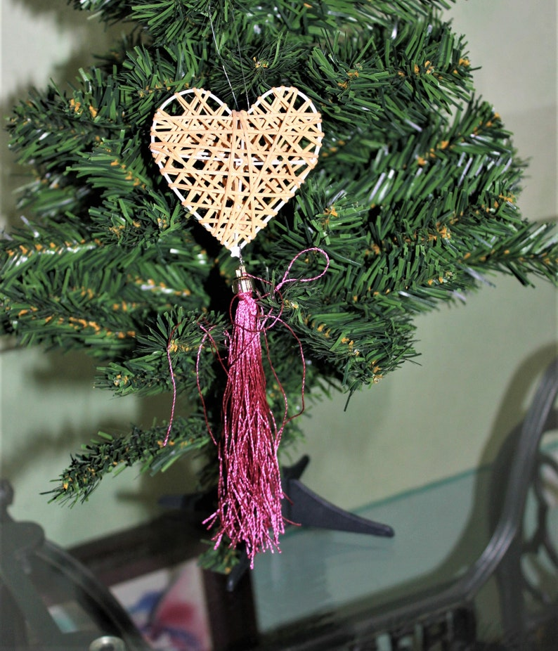 Christmas Tree Ornaments Wicker Heart And Silk Tassels Elegant Christmas Heart Ornament Love You Gift Friends Little Holiday Gift