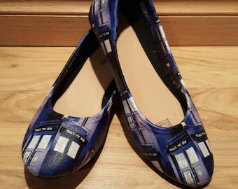Doctor who - tardis - Womens flat shoes - sizes 6-11 - Custom Made