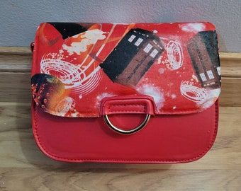 doctor who tardis themed handbag clutch - hand made