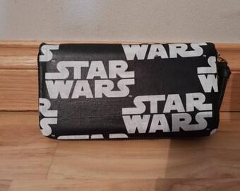 Custom - star wars logo - purse wallet clutch - luke leia han chewie r2d2 c3po